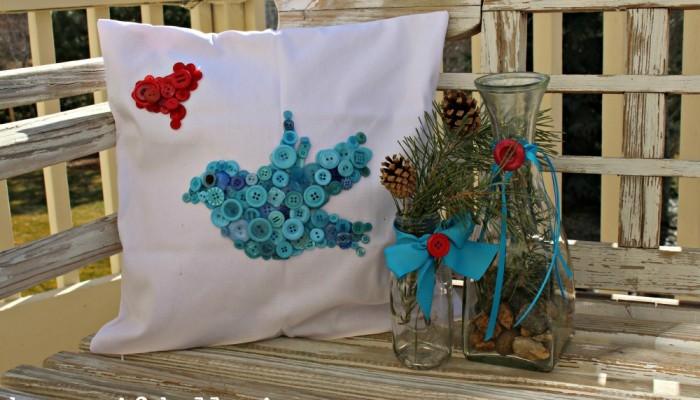 DIY Button Birdie Pillow