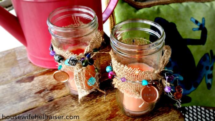 Beaded Mason Jar Candle Holders