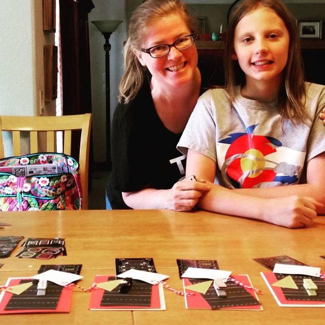 Putting together CraftyHappyHour card kits at my kitchen table! AuroraCentennialhellip